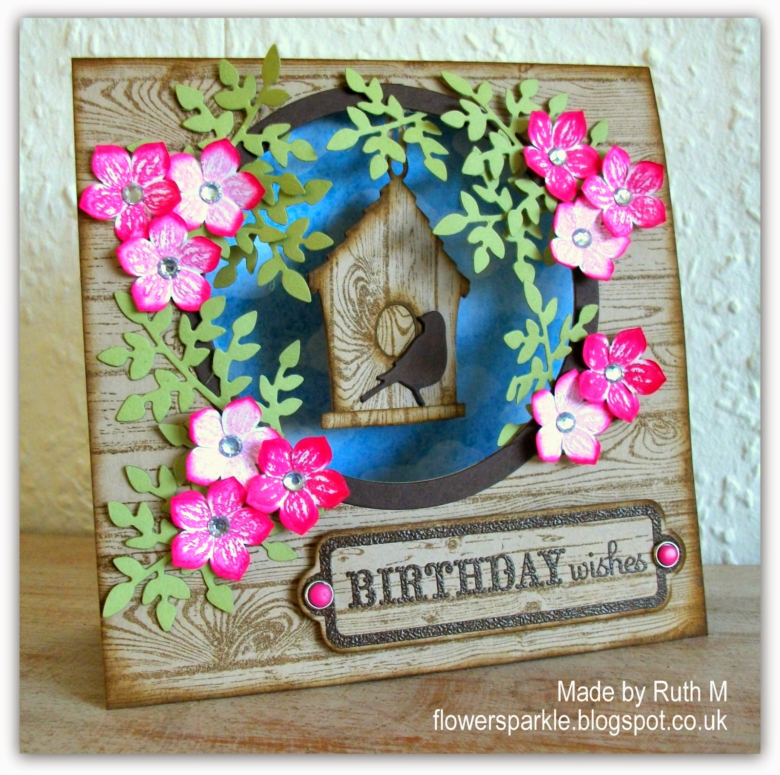 Flower Sparkle Dangly Birdhouse Birthday Wishes Tent Card For Jan