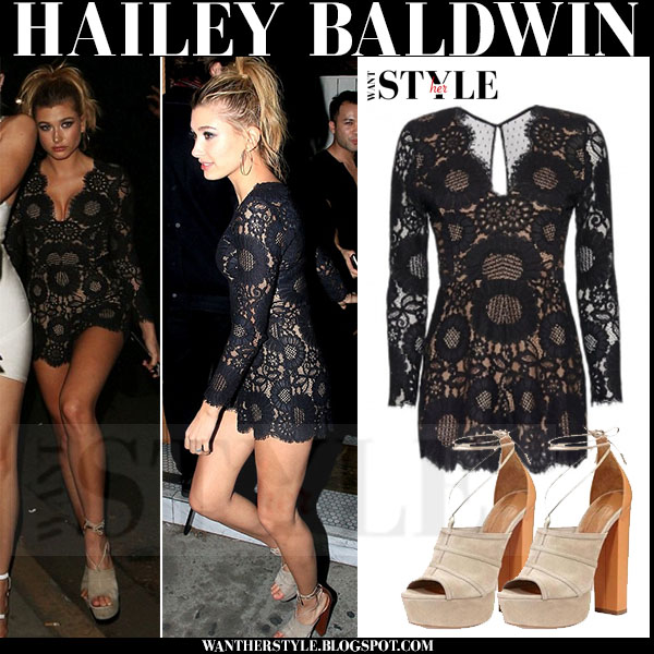 Hailey Baldwin in black lace mini dress and suede sandals what she wore model style