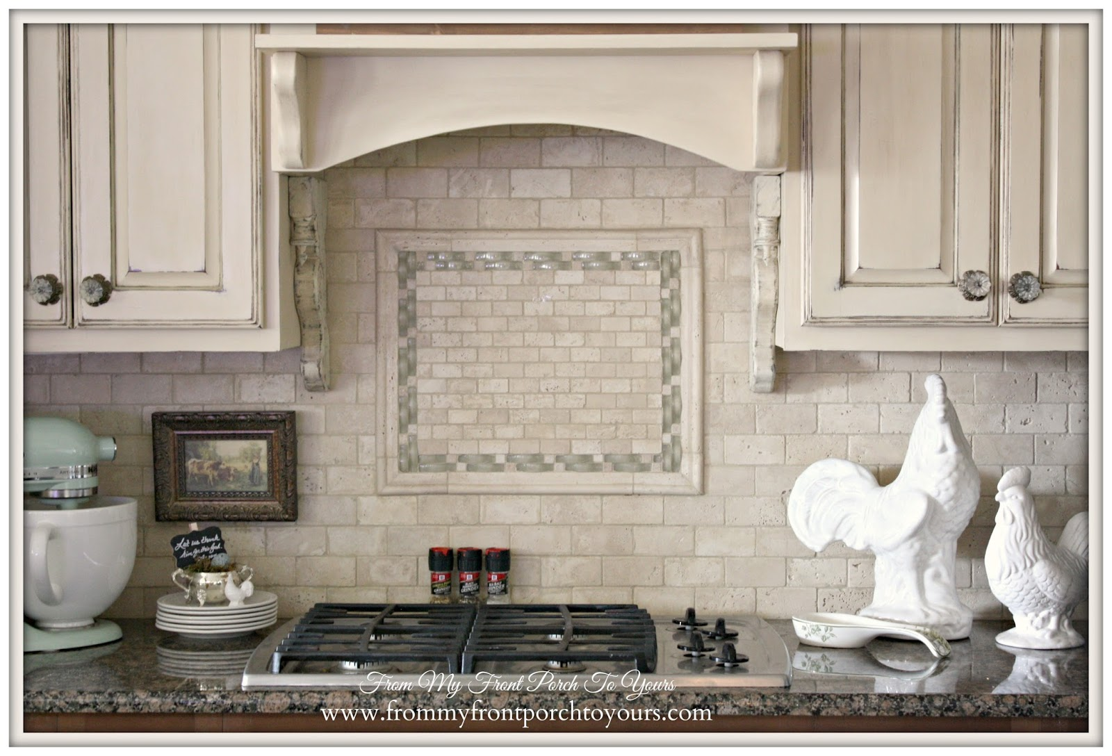Travertine Tile Backsplash-French Farmhouse Kitchen- From My Front Porch To Yours