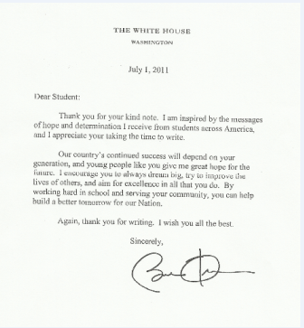 how to write a letter to the president Here is a good, interesting story in the washington post about the people who write to barack obama, why they write, and the process by which some of their letters.