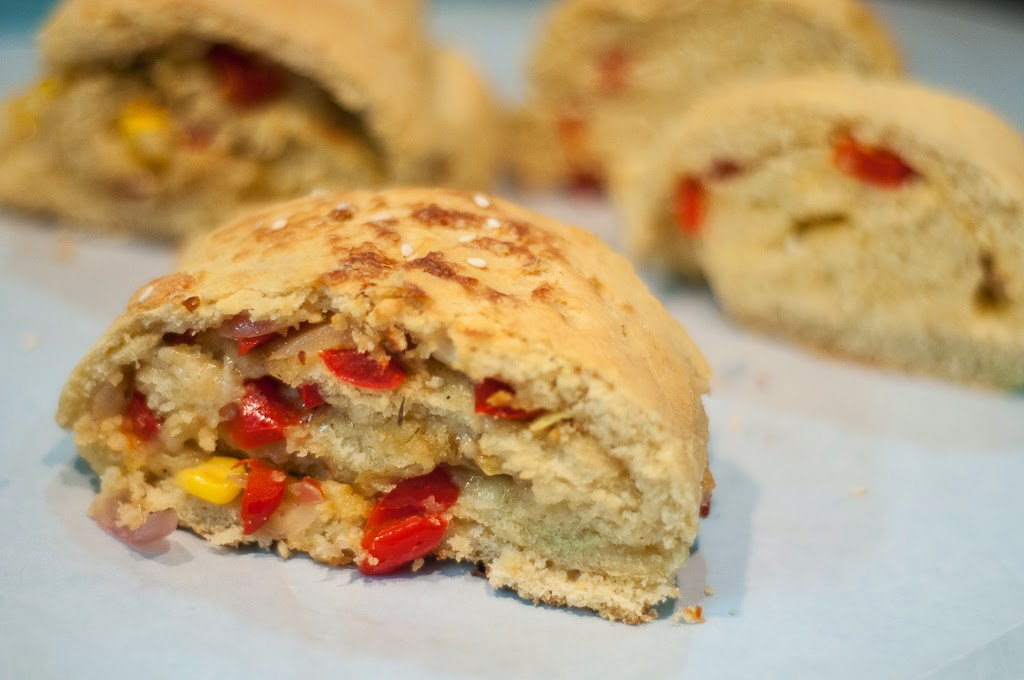 Corn, Red Pepper and Cheese Roulade