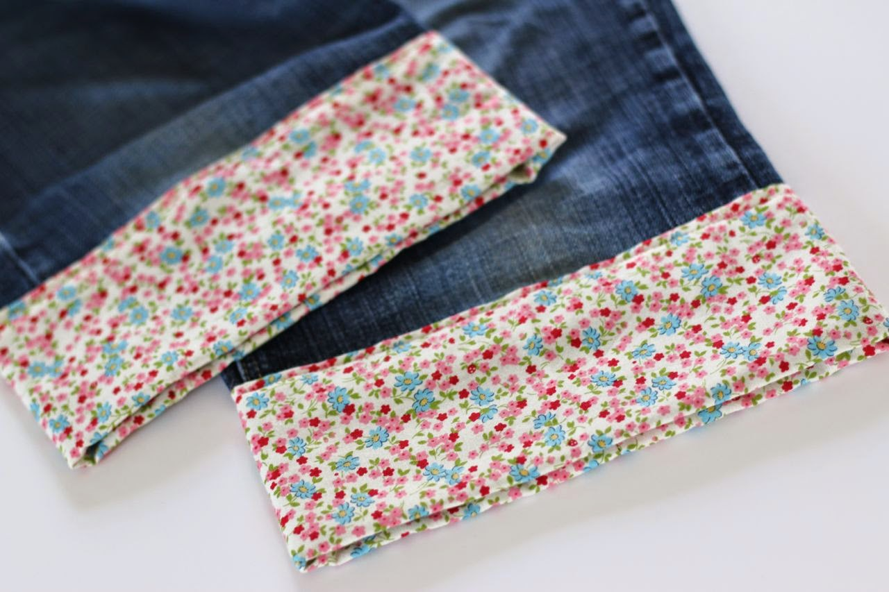 Pretty fabric turn-up jean hems