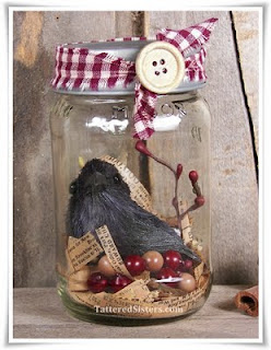 Primitive Crow Mason Jar