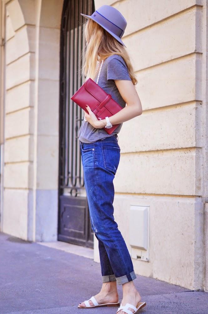 Hermès, maison michel hat, clutch, boyfriend jeans, pearl necklace, fashion blogger, chic, casual, streetstyle, outfit, blonde, parisienne