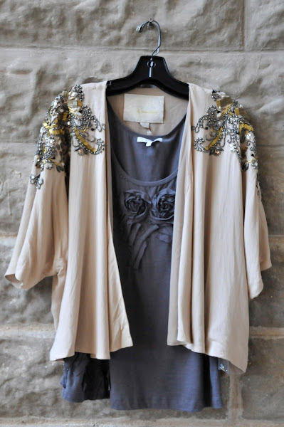 Beaded Jacket $138 and rosette tank $58