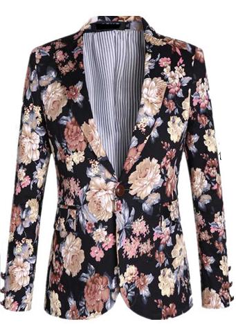 Amazing Royalty Style Velvet Blend Floral Blazer