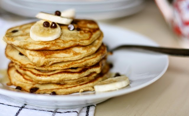 Grain-Free Banana Chocolate Chip Pancakes
