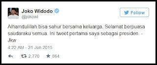 Beginilah Bunyi Twit Perdana di Akun Twitter Resmi Presiden Joko Widodo