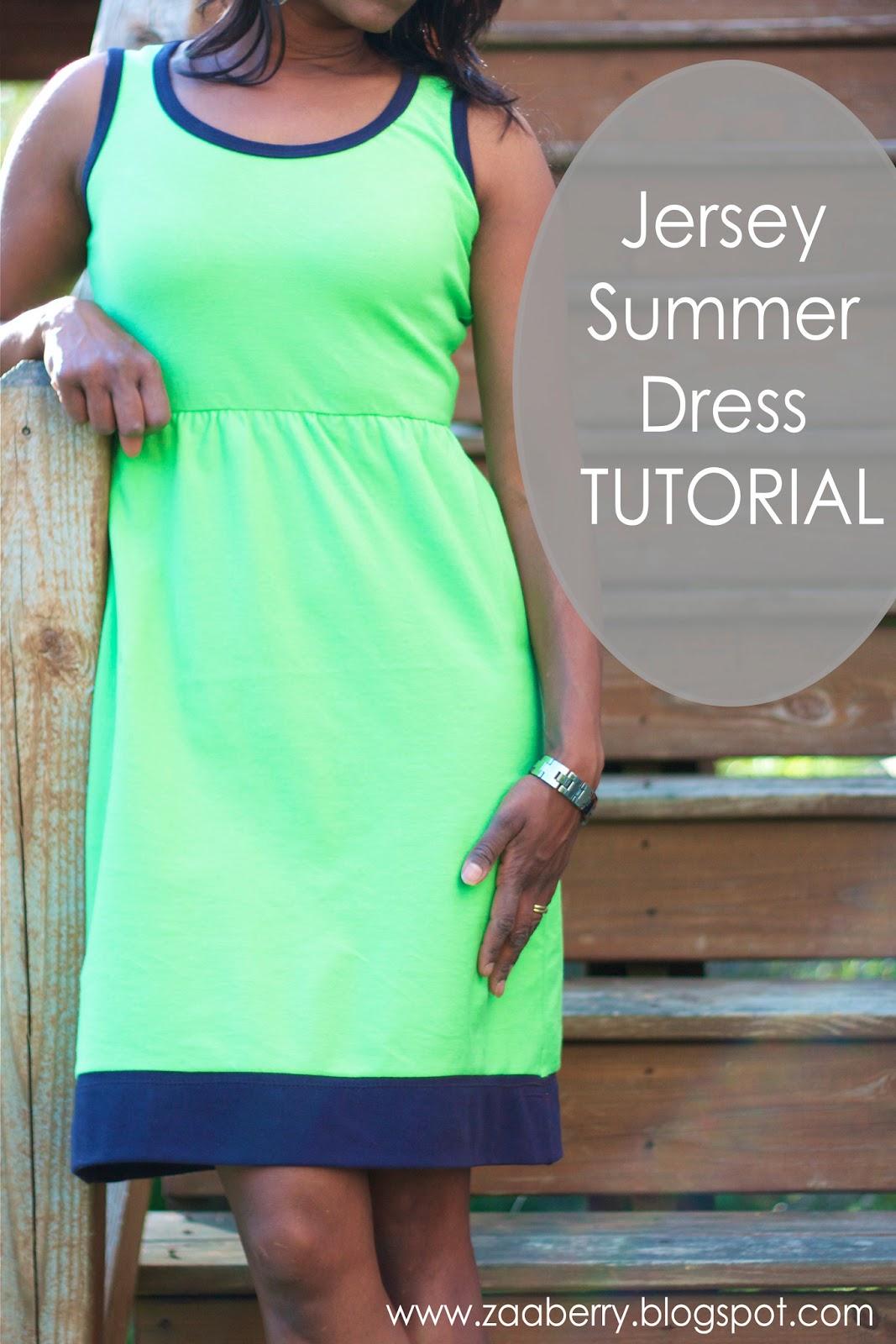 Easy Knit Dress Pattern : Zaaberry: Jersey Summer Dress TUTORIAL