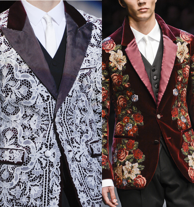 Details of floral print suits and handmade needlepoint floral designs from Dolce & Gabbana men's fall 2013 show