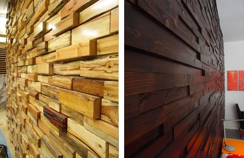 Revestimientos de madera reciclada inspiraci n espacios - Revestimiento de paredes interiores en madera ...