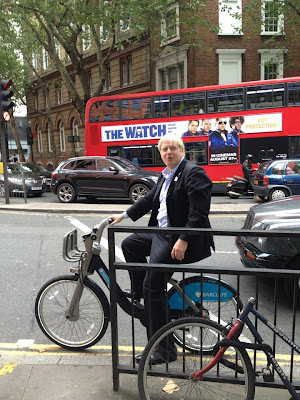 Boris Johnson on a Boris Bike