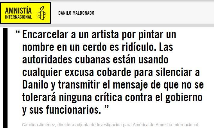 Amnistía Internacional exige la libertad de Danilo de forma inmediata e incondicional