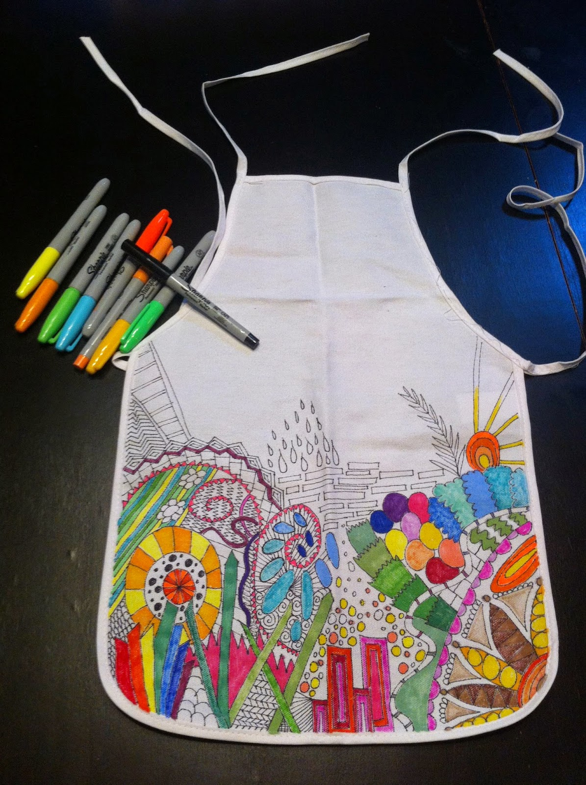 Product - Kids Apron Animal Friend Chicken Sheep and Horse with Patch Motif Zoo Joyful Cartoon Print, Unisex Kitchen Bib Apron with Adjustable Neck for Cooking Baking Gardening, Red Orange Yellow, by .