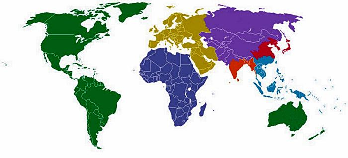 The World Divided Into 7 Regions, Each with a Population of 1 Billion