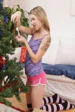 "Czech teener Angel Piaff gets kinky decorating the Christmas tree! ""Wet And Puffy"""