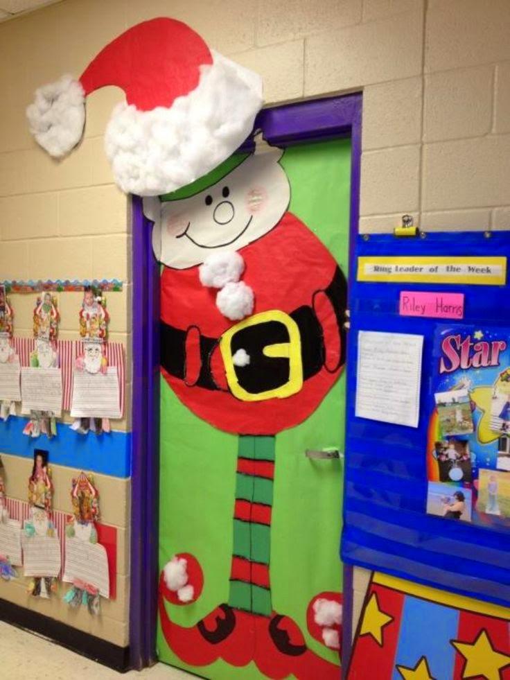 decorar sala de kinder : decorar sala de kinder:Christmas Elf Classroom Door Decoration