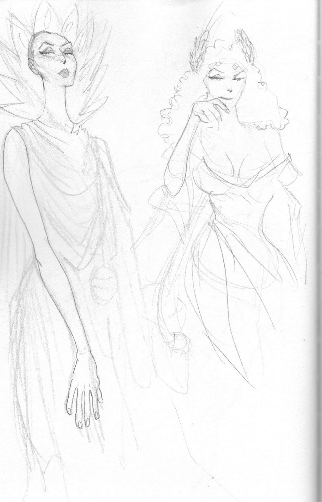 Hera Greek Goddess Cartoon Sketch of hera herself,