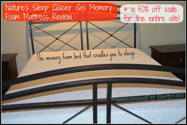 Nature's Sleep Glacier Gel Mattress Review, 50% discount code, promo code, #NSAmbassador