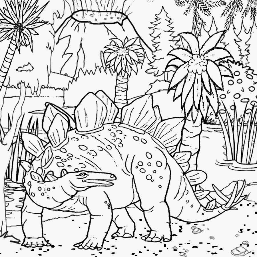 Lizards coloring pages to print - Tropical Jurassic World Roof Lizard Reptile Herbivore Plant Eater Stegosaurus Dinosaur Coloring Page