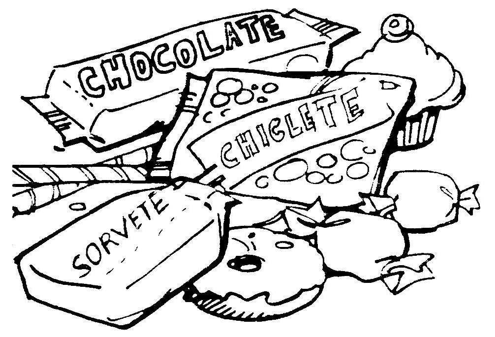 escola dominical infantil atividade para colorir doces chocolate