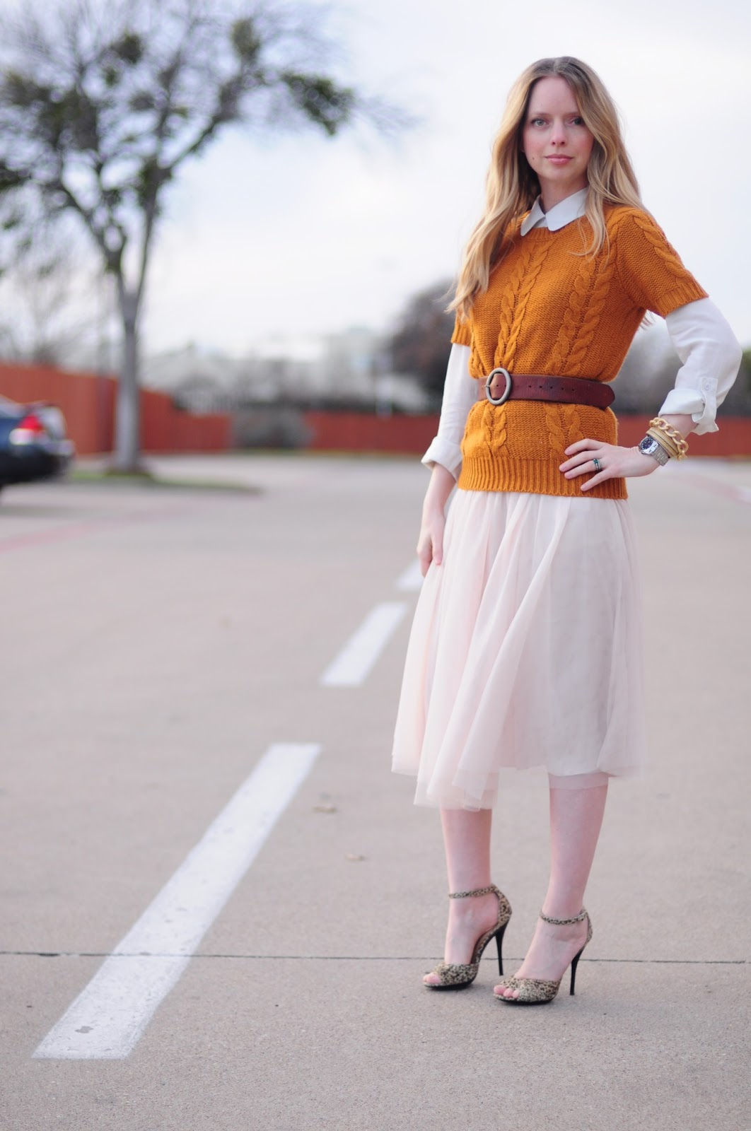 Tulle with cable knit sweater