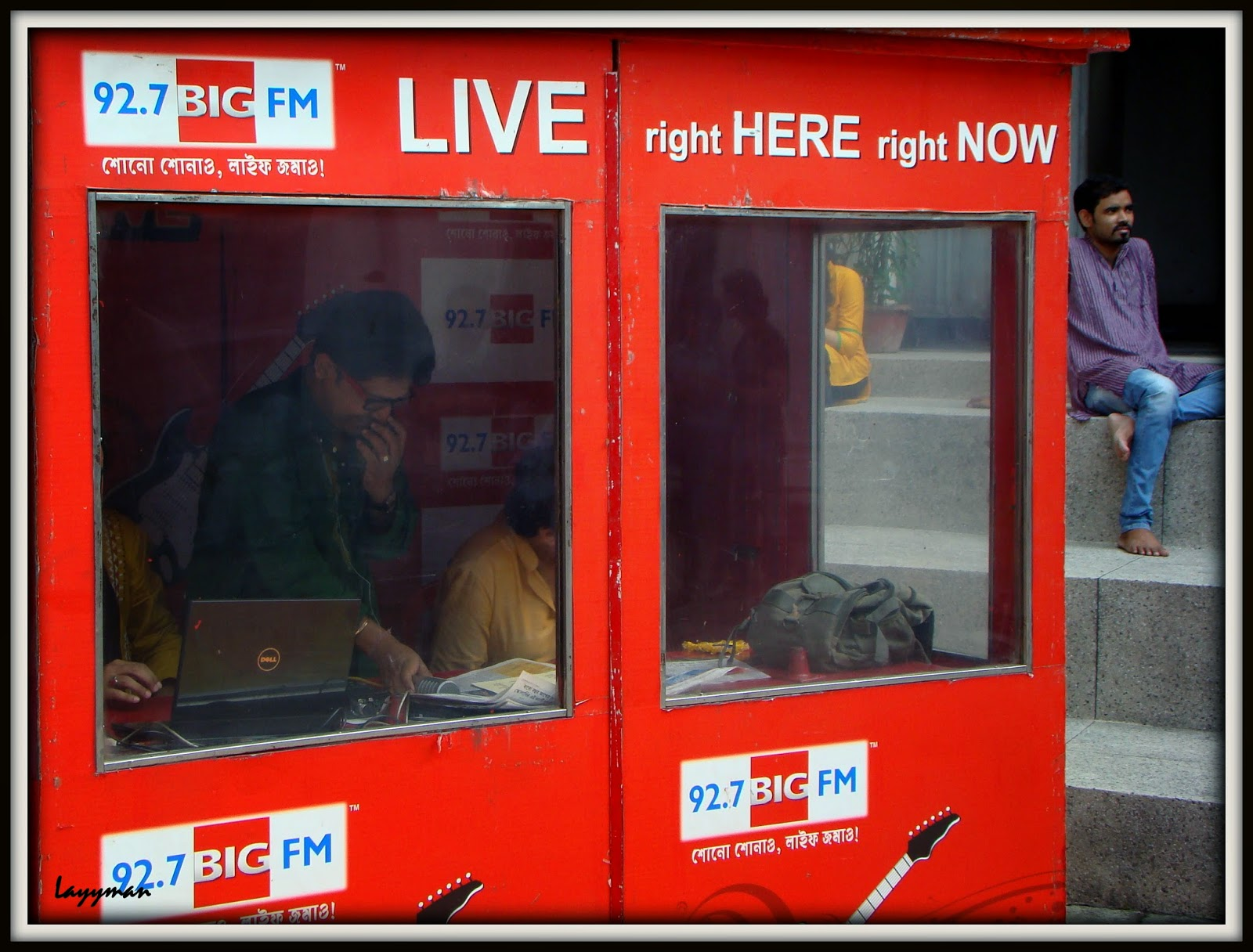 Big FM cubicle on the courtyard. Jorasanko Thakur Bari