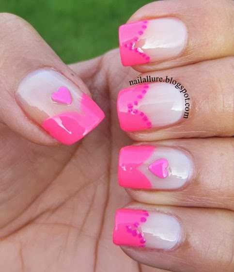 My Nail Files: Neon Hearts French Manicure