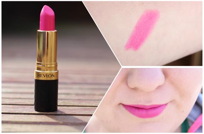 a bright matte pink lipstick