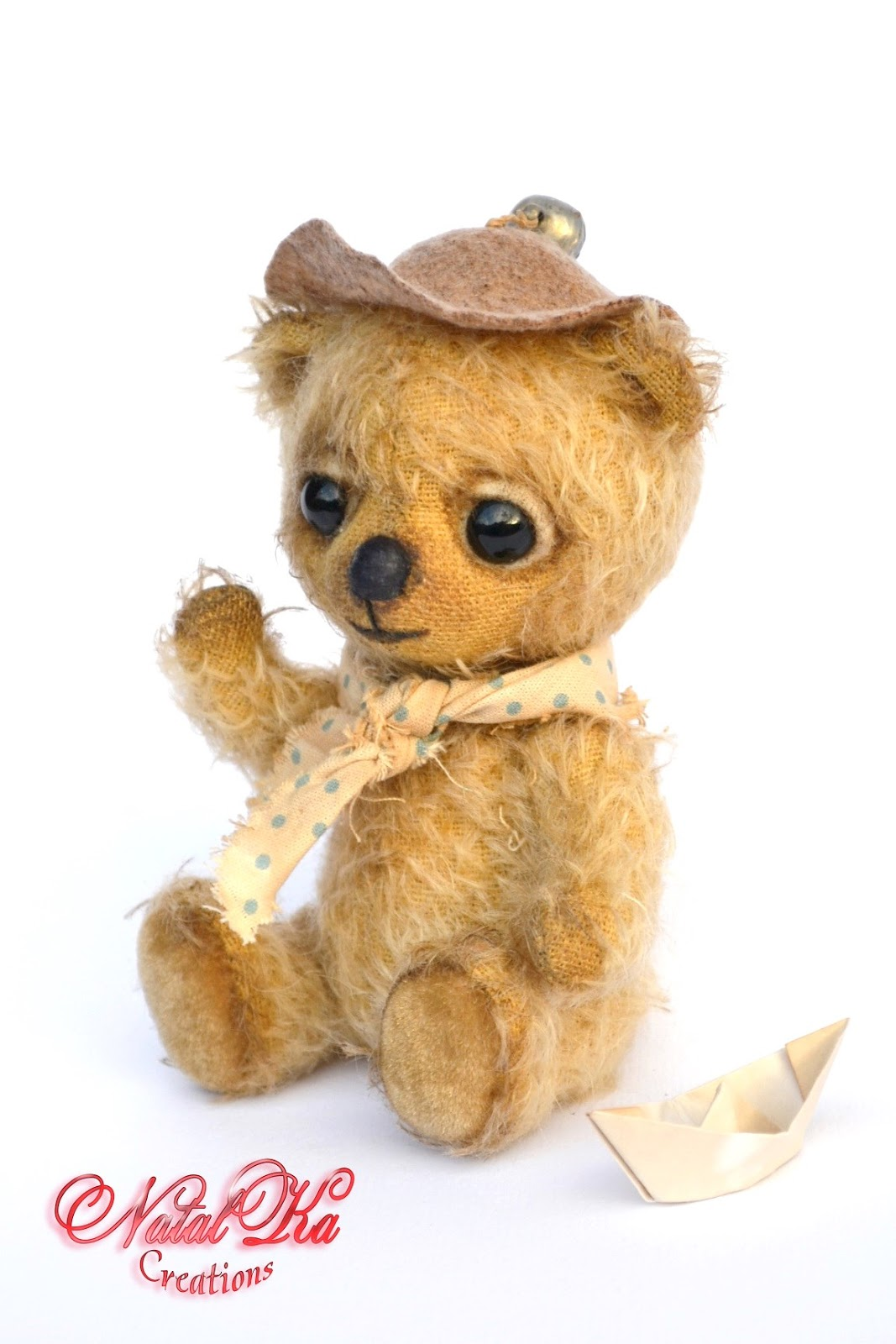 Teddy bear, teddies, artist teddy bear, artist bear ooak, handmade by NatalKa Creations. Teddies with charm