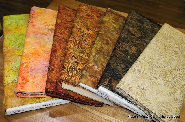Telas de Patchwork tipo Batiks en tonos otoñales