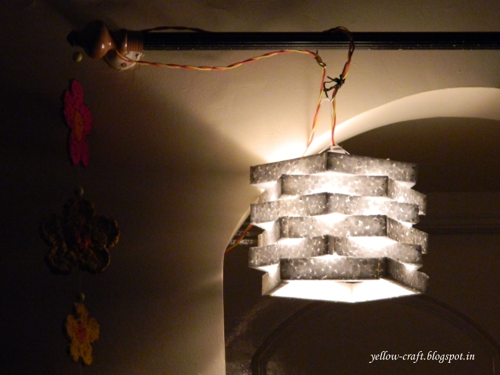 Diy thermocol lamp shade yellow craft for Diy wall lamp shade