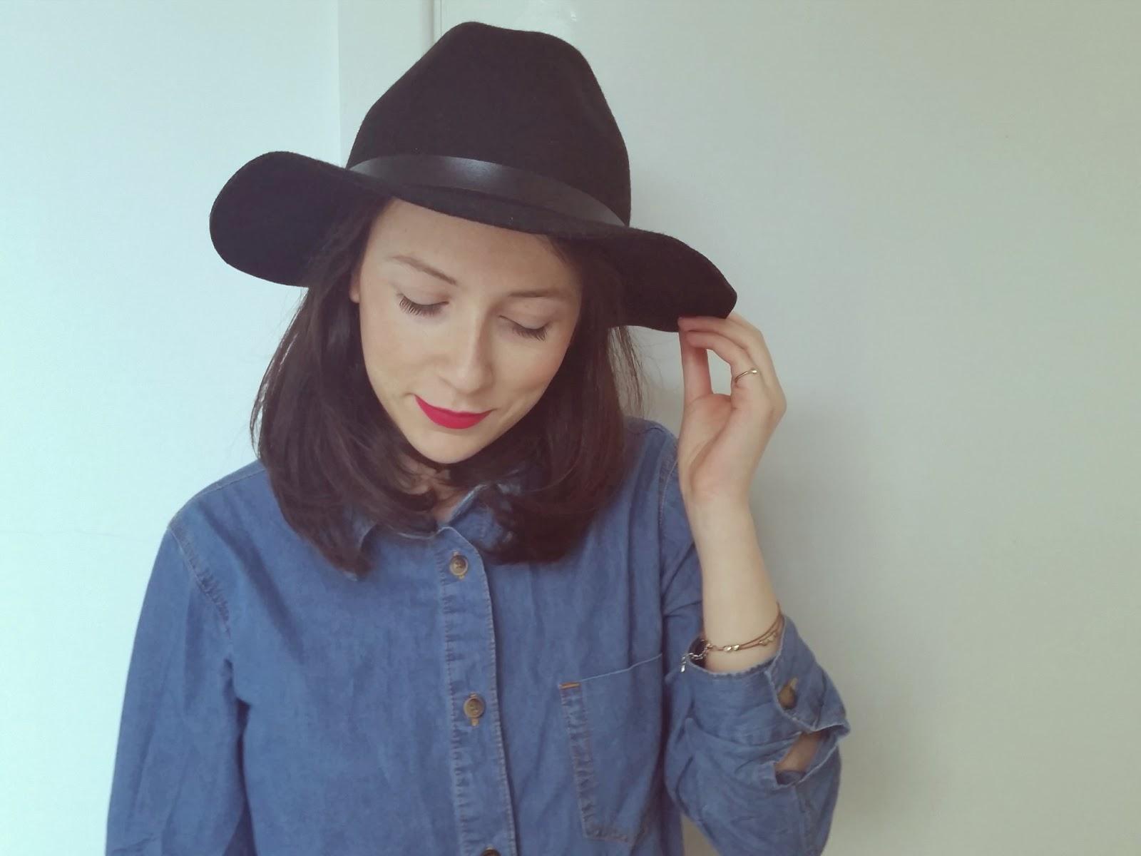 asos black wool hat