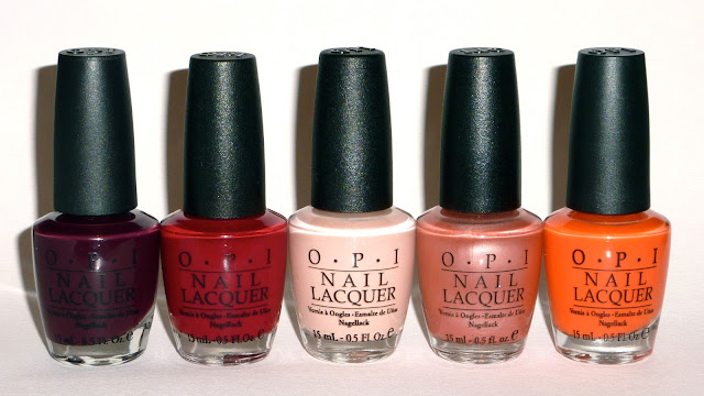 OPI - We'll Always Have Paris, Malaga Wine, Canberra't Without You, Dusk Over Cairo (Old Version), Y'All Come Back Ya Hear?