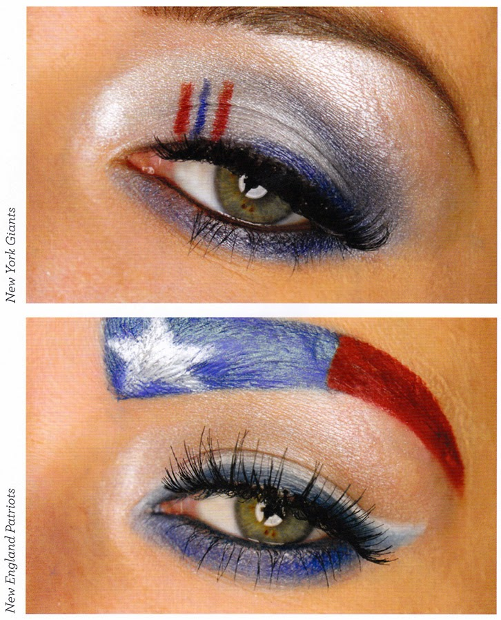 eye makeup, football team makeup, new england Patriot makeup, New York Giants eye makeup, how to