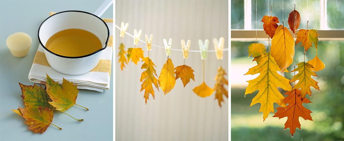 Например, из осенних листьев можно сделать изящную подвеску (мобиль).  Чтобы они прослужили вам подольше...