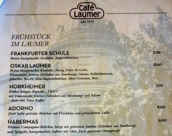 Frühstück in Frankfurt mit Adorno, Horckheimer und Habermas.