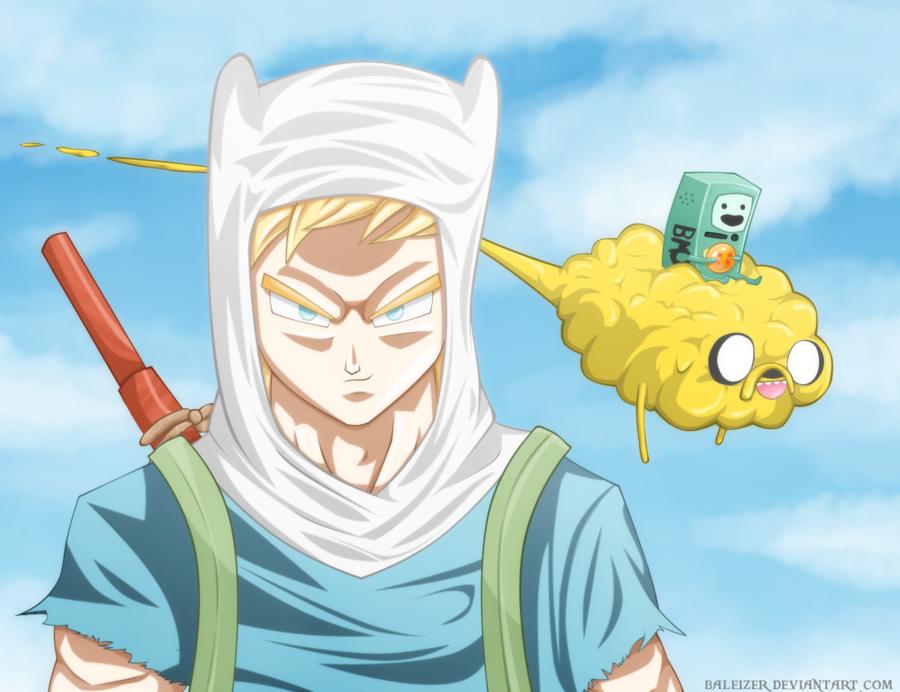 Fan-art misturando o universo de Dragon-ball com Adventure Time