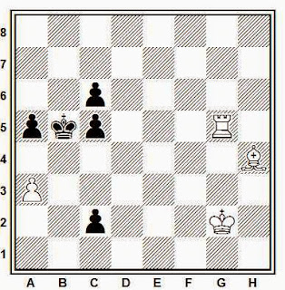 Estudio artístico de ajedrez compuesto por H. Mattison (Rigaer Tageblatt 1913)
