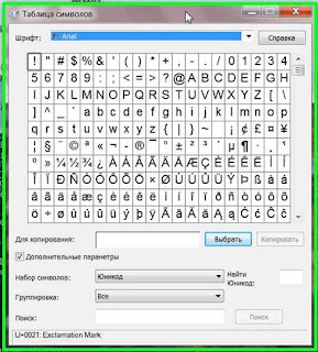 Специальные символы для вставки в текст