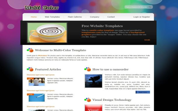 Colorful Jquery Free HTML CSS Website Template