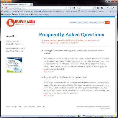 Screen shot of http://hvanimalhospital.com/faq.