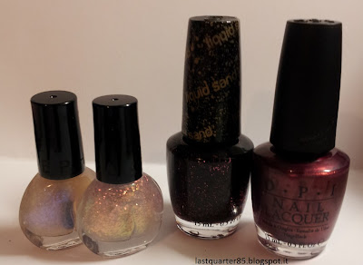Saldi Sephora: da sinistra Sephora Twinkle Twinkle, Sephora Purple Jewelry, OPI Stay the Night (effetto sabbia) e OPI Diva of Geneva.