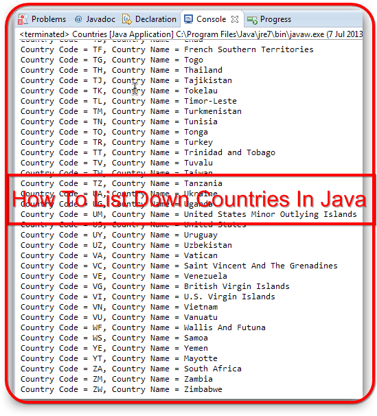 java countries