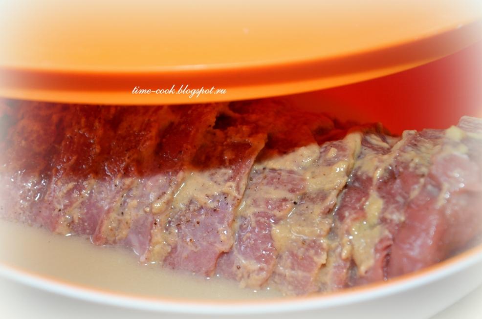 Мясо, запеченное с помидорами и сыром (гармошка)