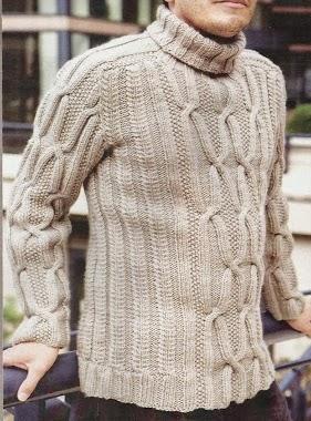 #113 Suéter Hombre Trenzado a Dos Agujas