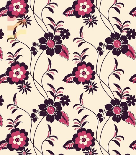 tapeta w czarno różowe kwiaty