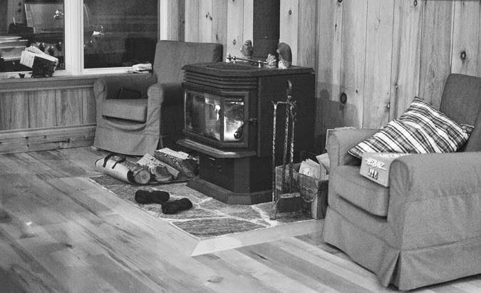 Black and white photography - cozy fireplace in the winter