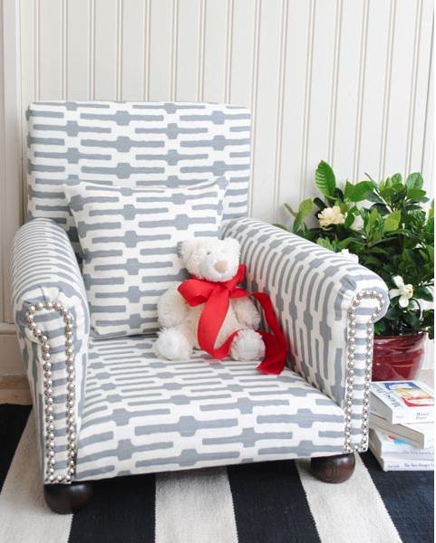 Honey we 39 re home custom upholstered children 39 s chair for Kids upholstered chair
