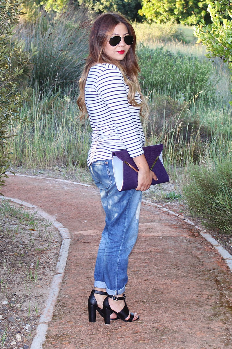 stripe top & boyfriend jeans, lalla x legit, legit shoes, legit sandals, blackcherry bags, ray ban aviators, mac ruby woo, black block heels, fashion blogger cape town, fashion blogger south africa, cotton on boyfriend jeans, long ombre curls